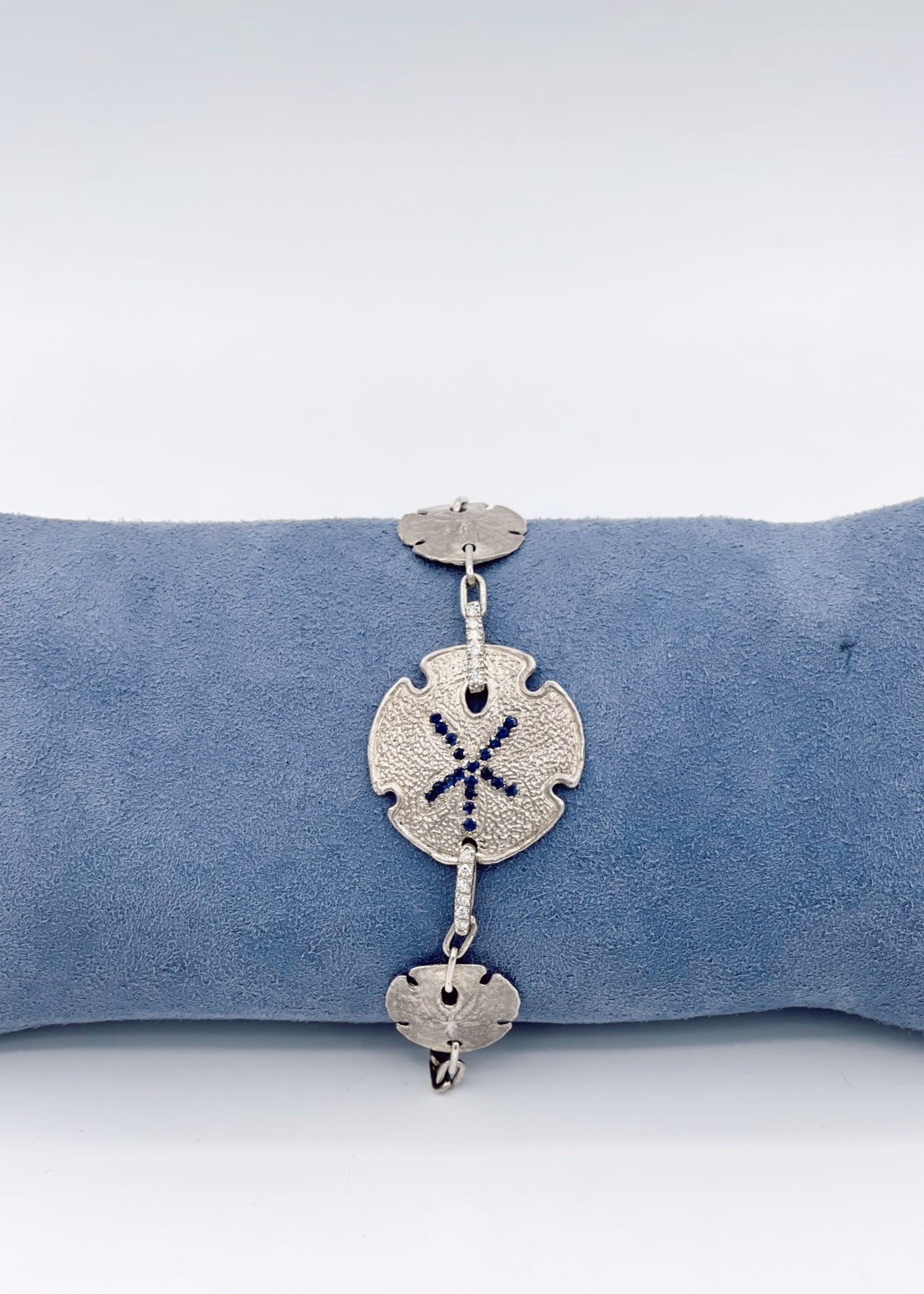 CJ Designs Blue Sapphire with Diamond Sterling Silver Bracelet