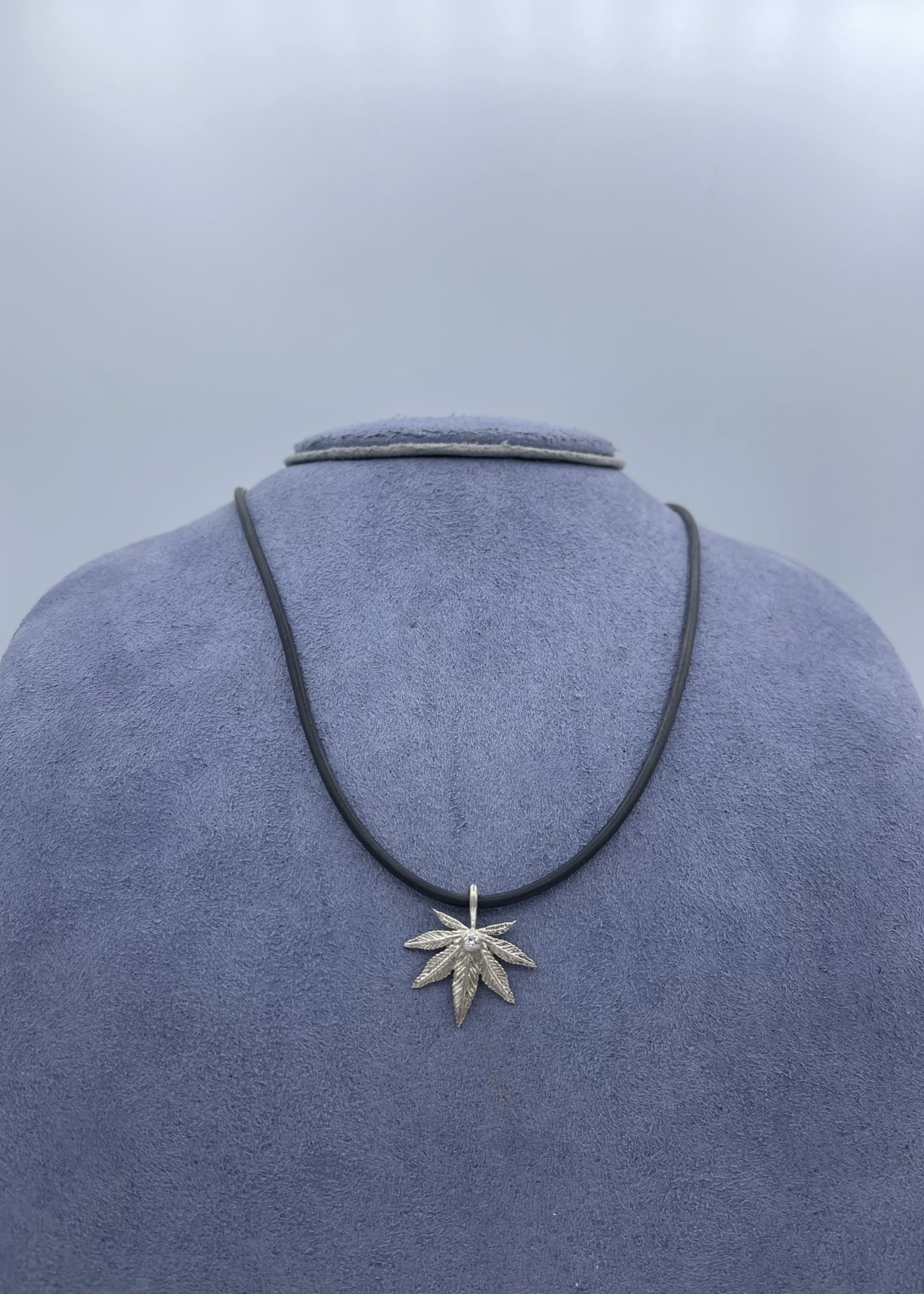 CJ Designs Weed Sterling Silver Necklace with Diamond