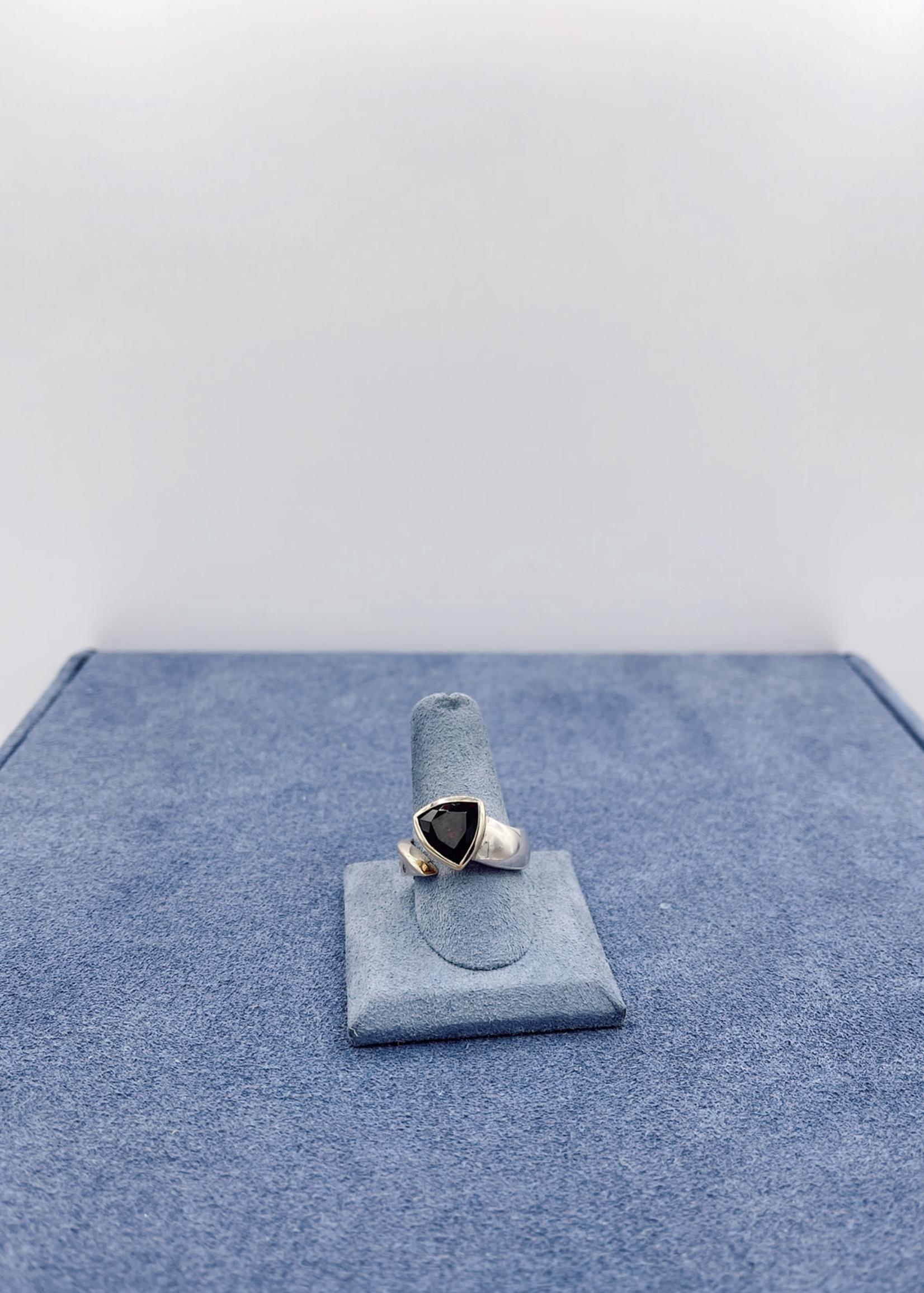 CJ Designs Garnet Split Ring Size 7.50 SS/14ky