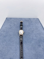 Belair Time Corp Ladies Rose Stainless Steel Black Leather Band Watch w/80 Diamonds