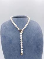 CJ Designs Necklace 18k Yellow Akoya Pearls 7-7.5mm with Diamond Clasp