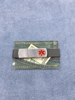 Grand Band Stainless Steel Card Holder with Medical Symbol