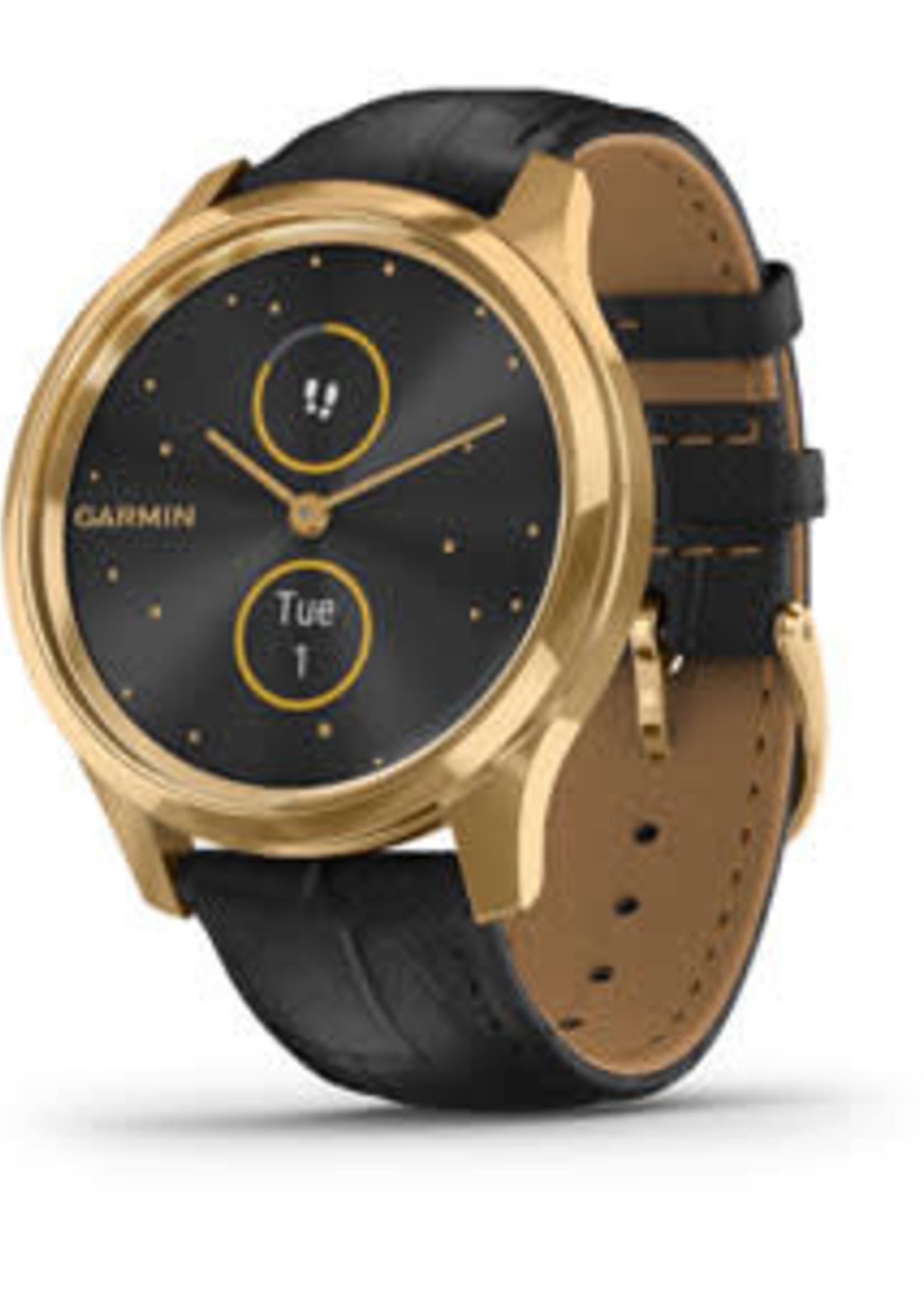 Garmin Garmin Watch Vivomove Luxe, Gold, Black Leather Band