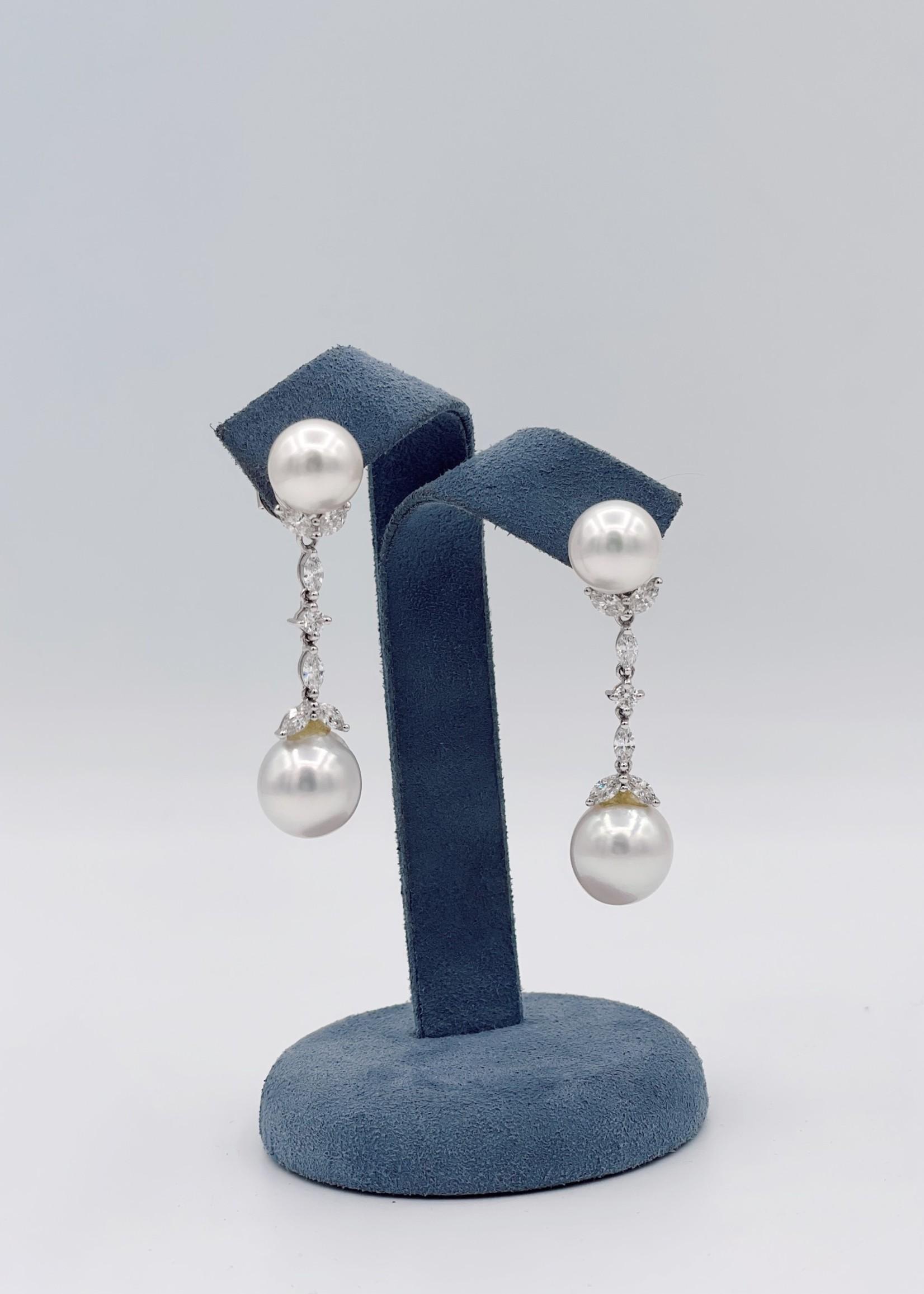 Jye International Memo Diamond Drop Pearl Earrings 18k White