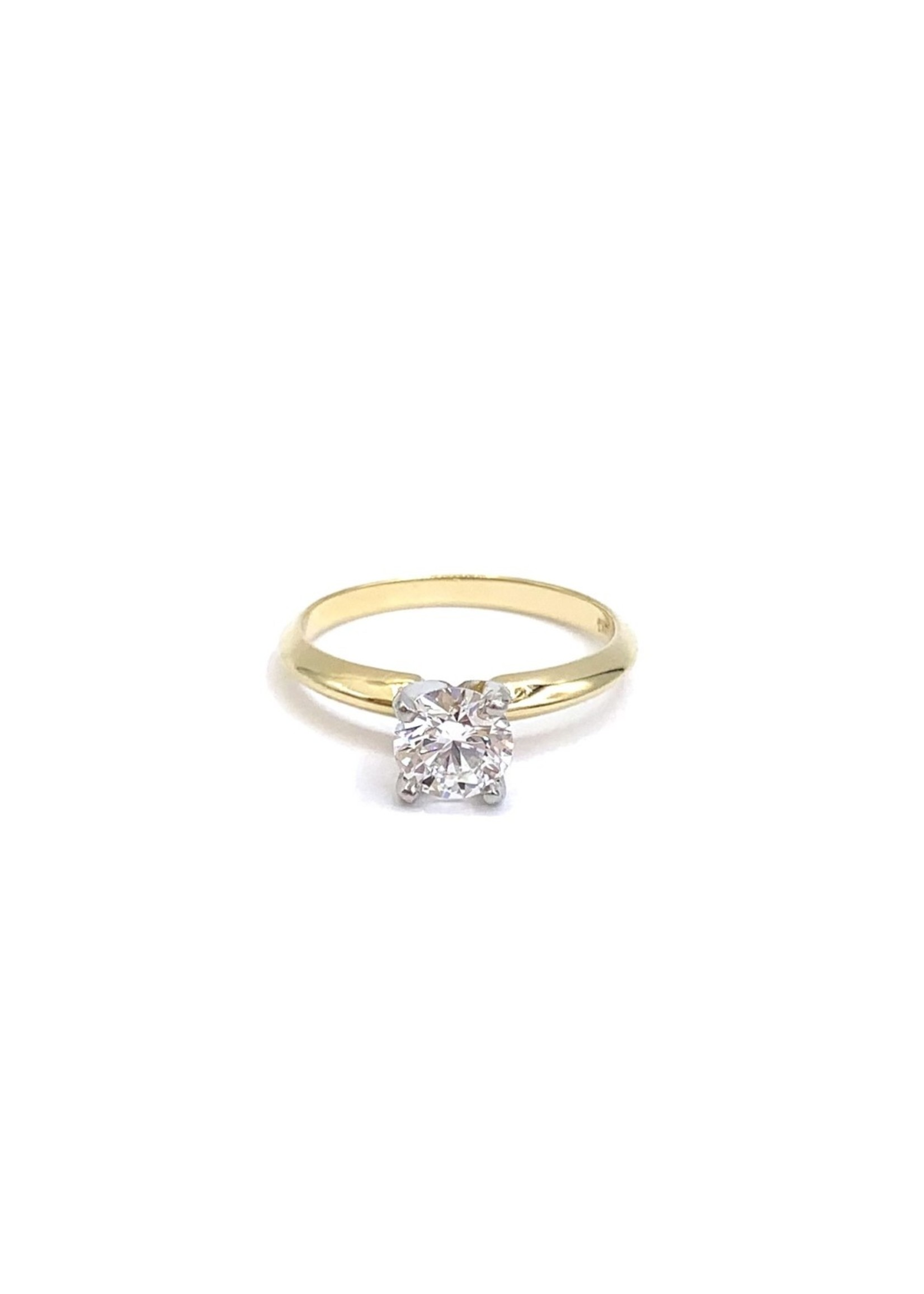 CJ Designs Eng 14kY solitaire w/ .67ct SI1 G Col Dia, Plat prongs