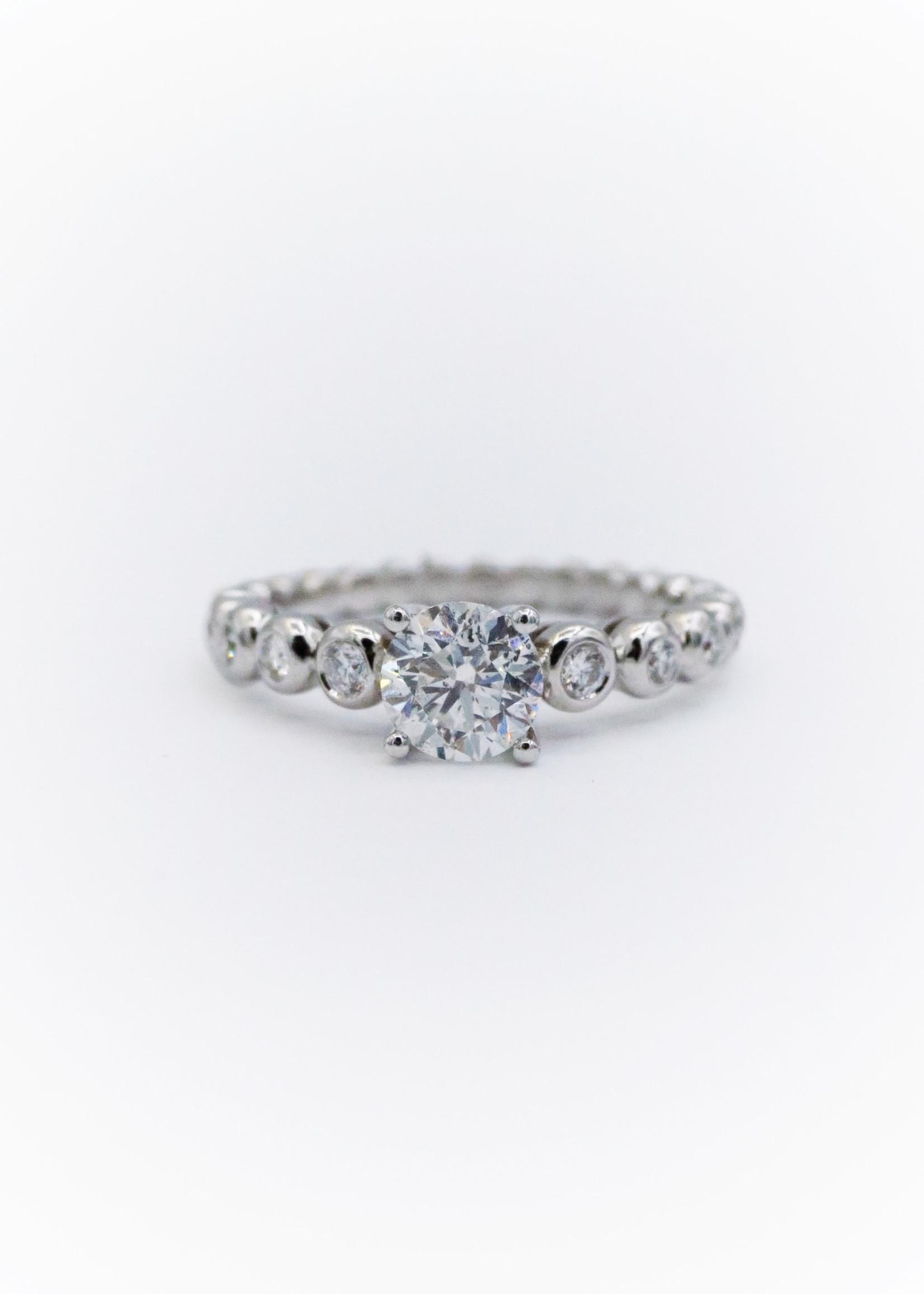 Diadori Engagement Ring 18k White CDia= .92ct Dia=.75ctw