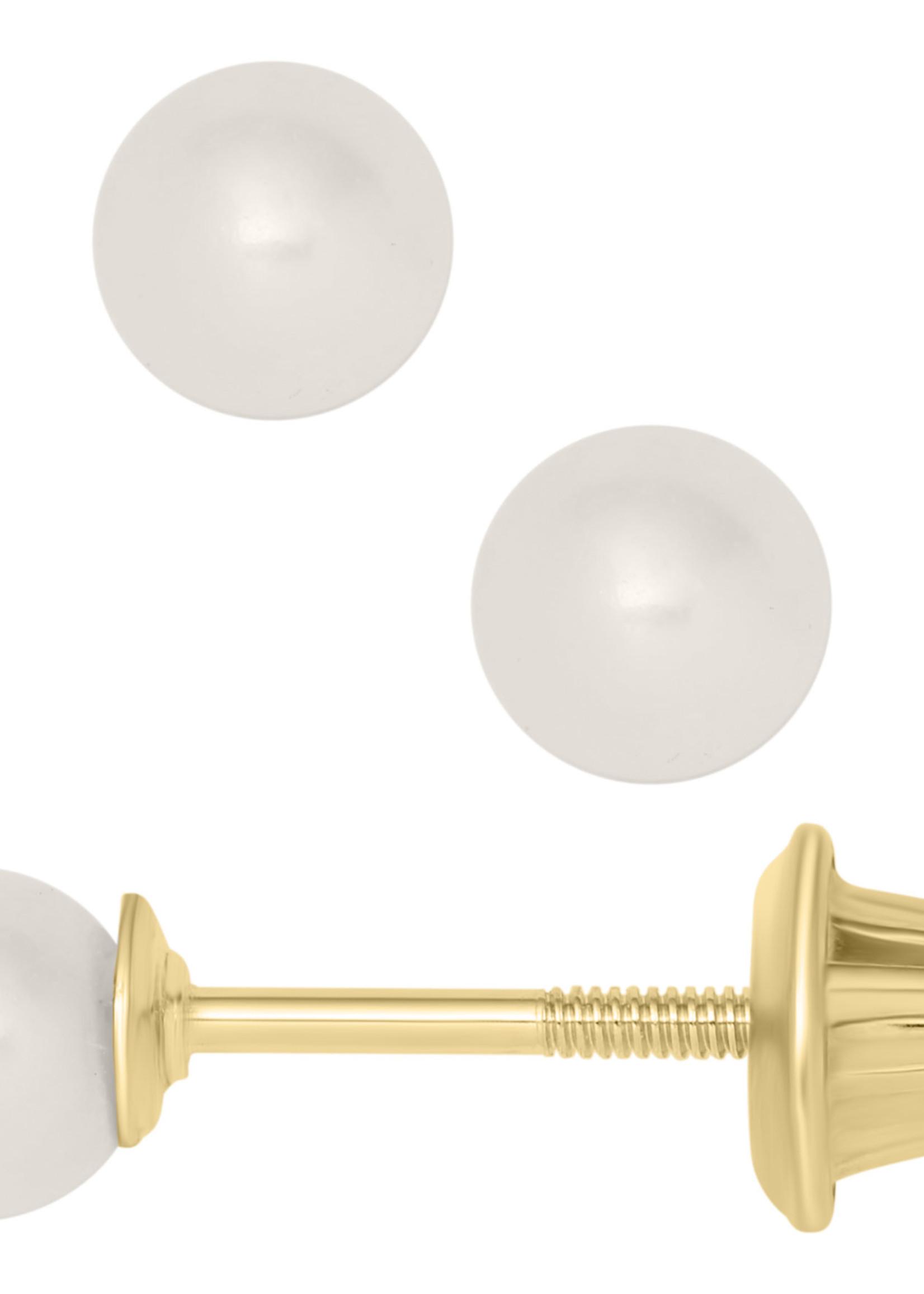 Marathon Company Pearl Earrings  Cap Backs 14k