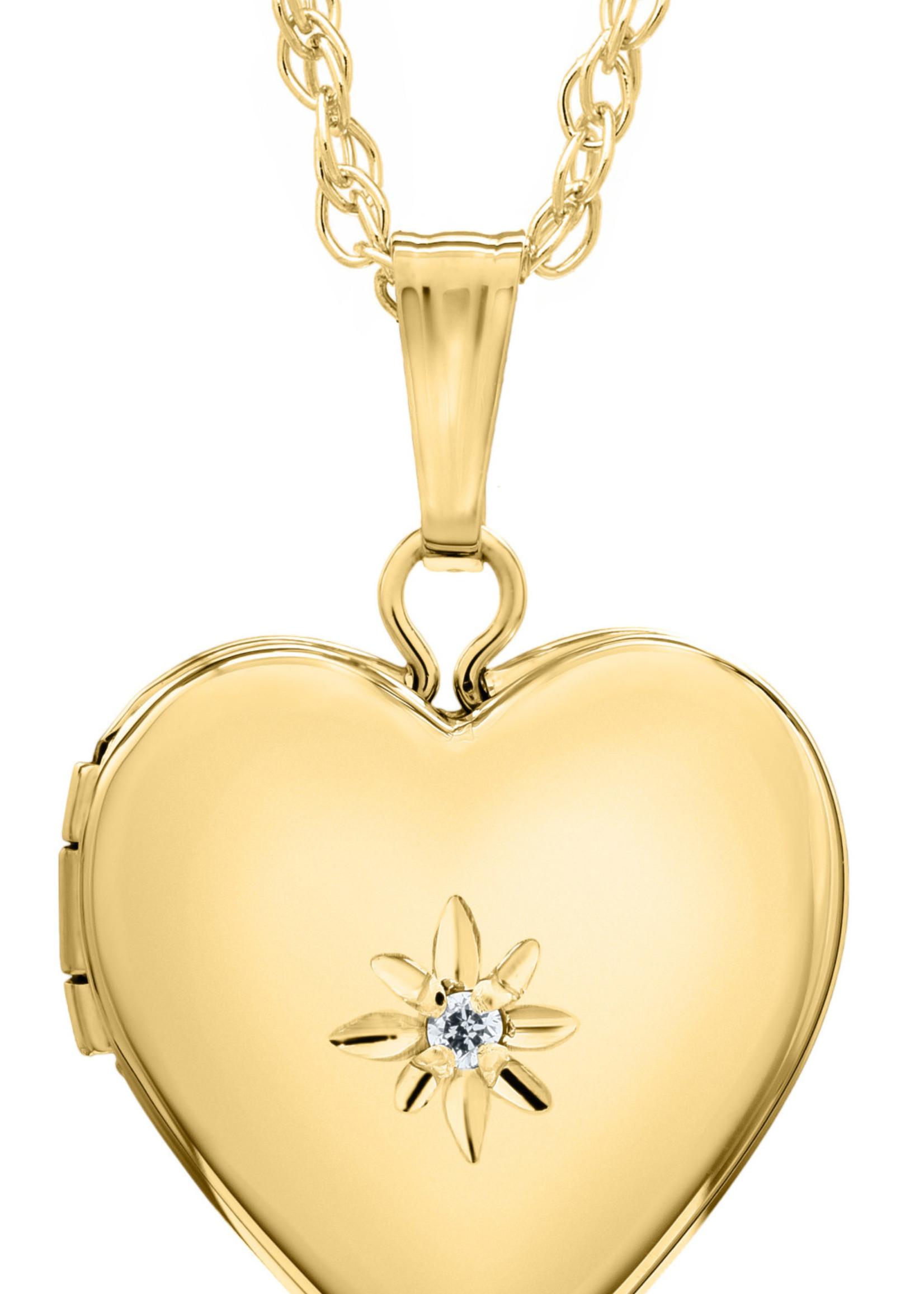 Marathon Company Baby Heart Locket with Diamond 14k Yellow