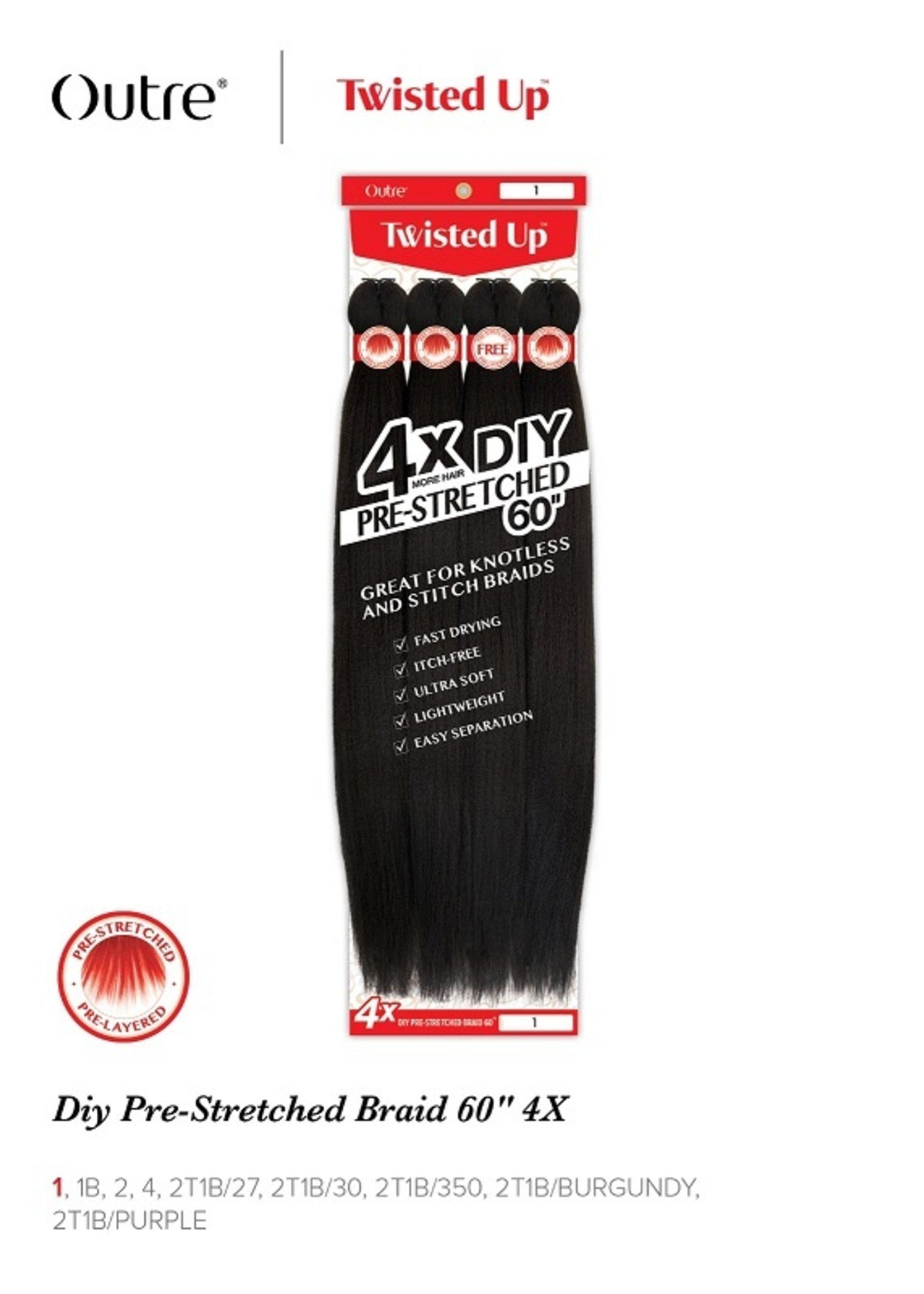 """Outre 4X - Twisted Up - Pre-Stretched Braid 60"""""""