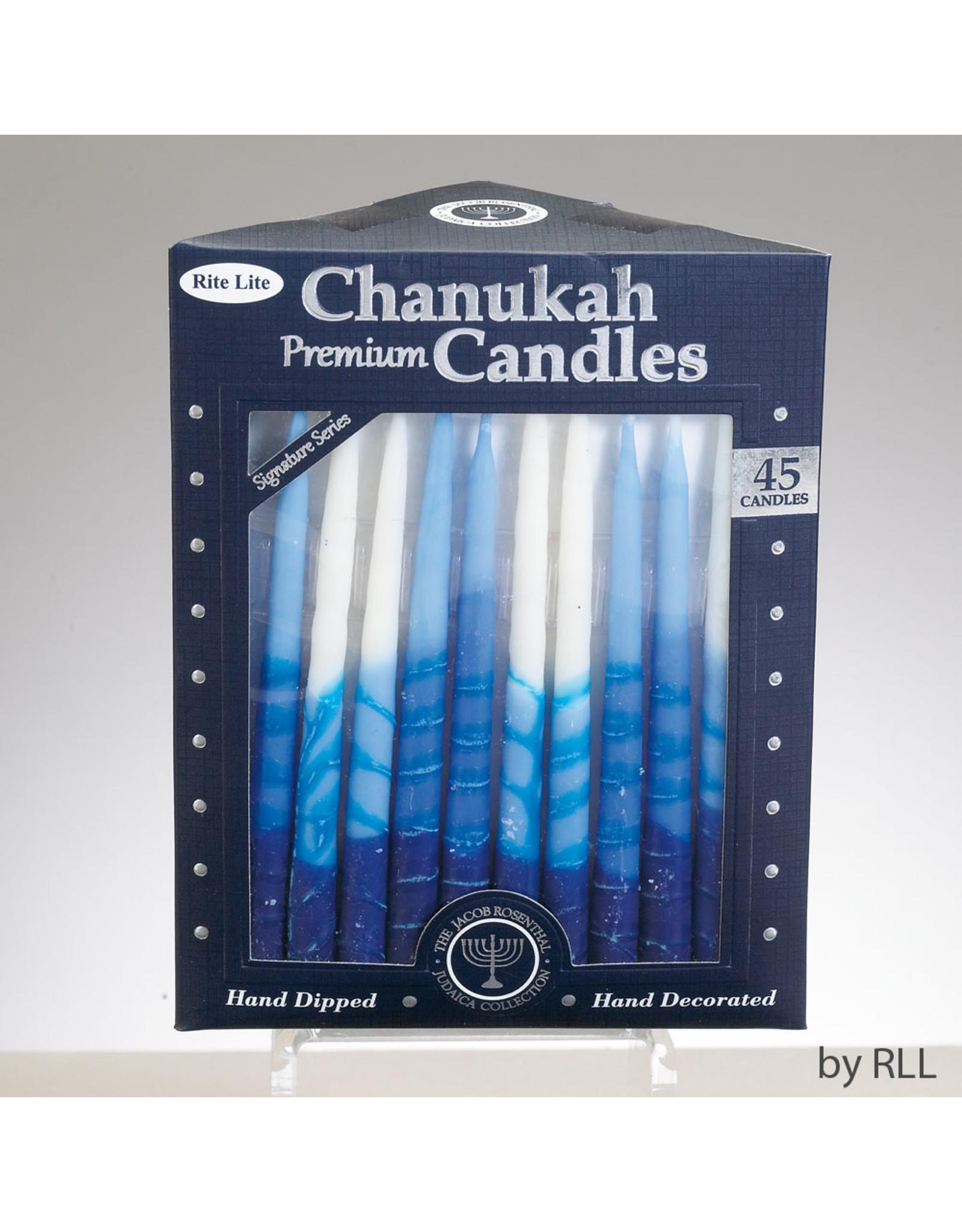 Candles Hanukkah blue stripe