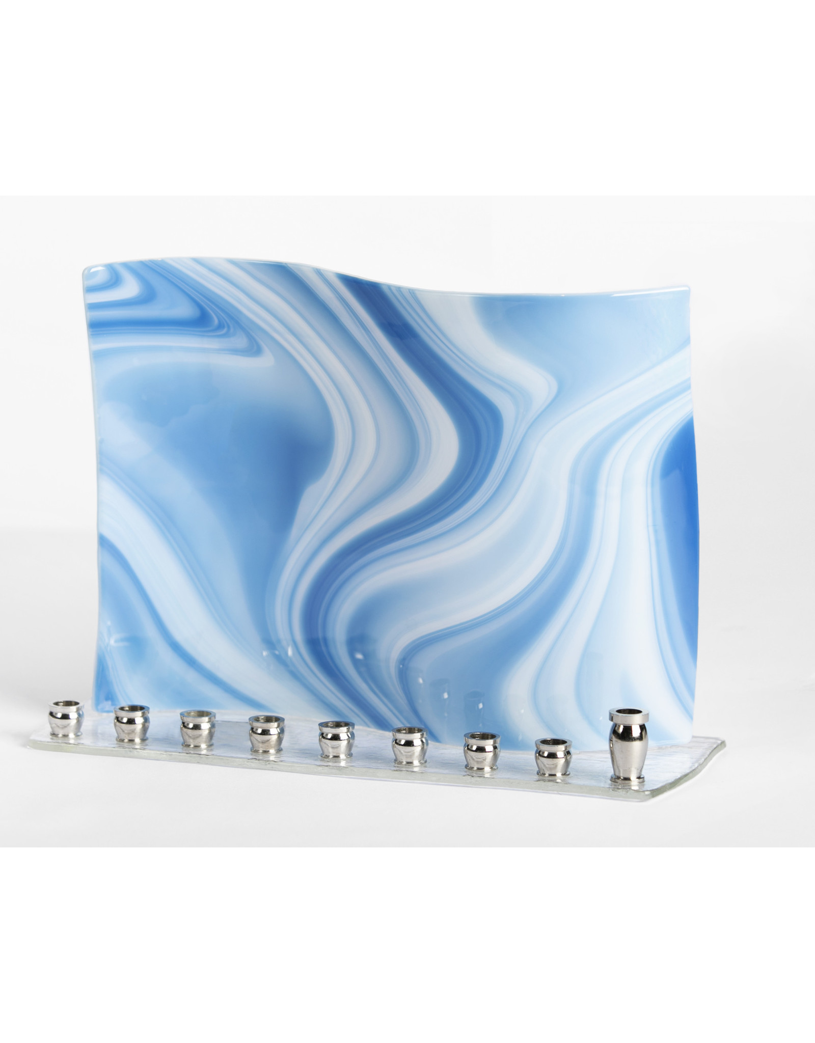 MENORAH BLUE WAVE STAINED GLASS