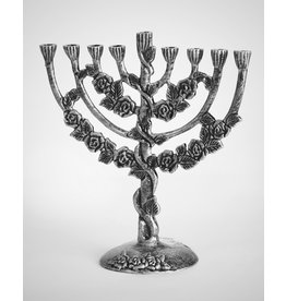 Menorah Floral Design Antiqued