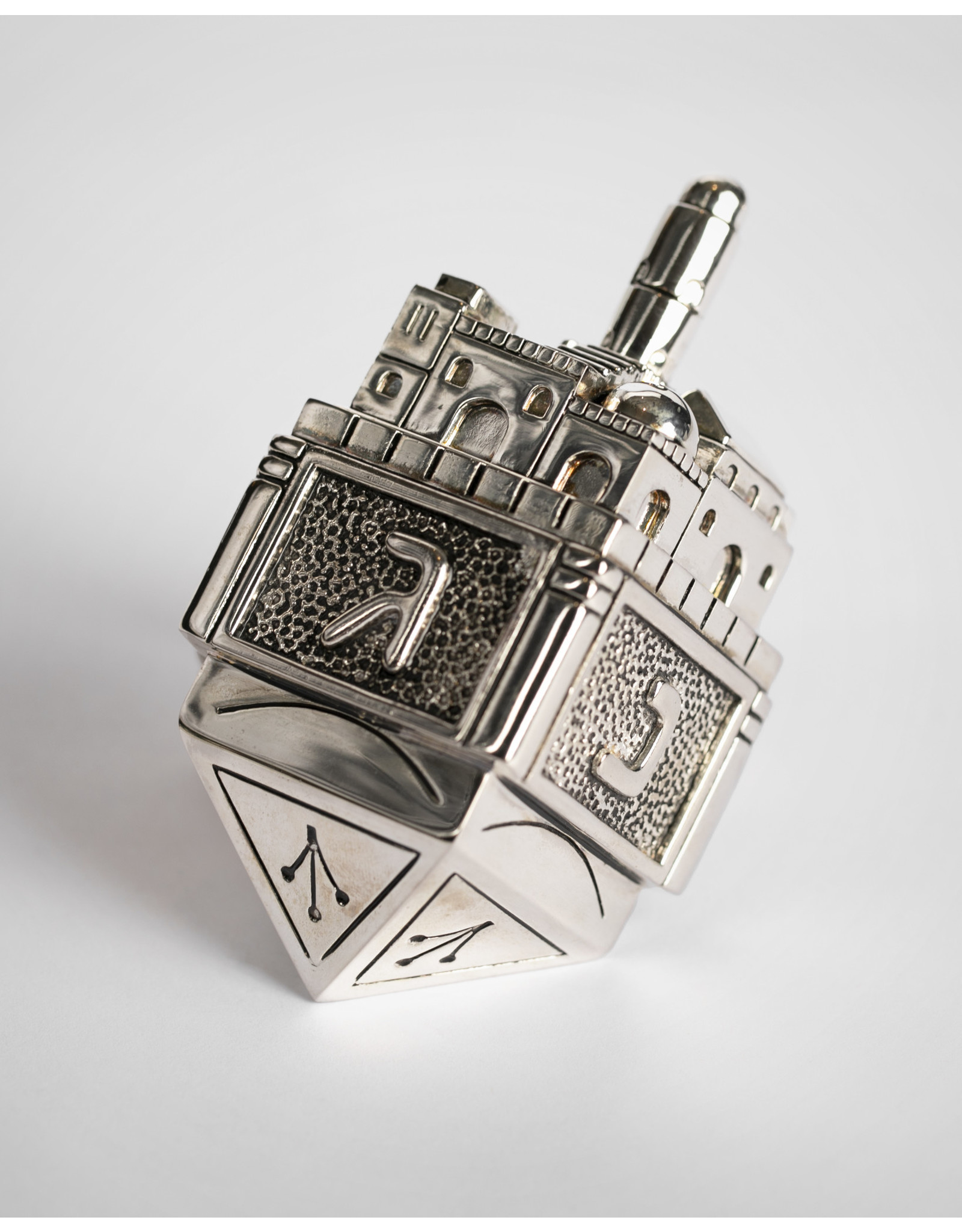 Silver and Metal Jerusalem Hanukkah Dreidel