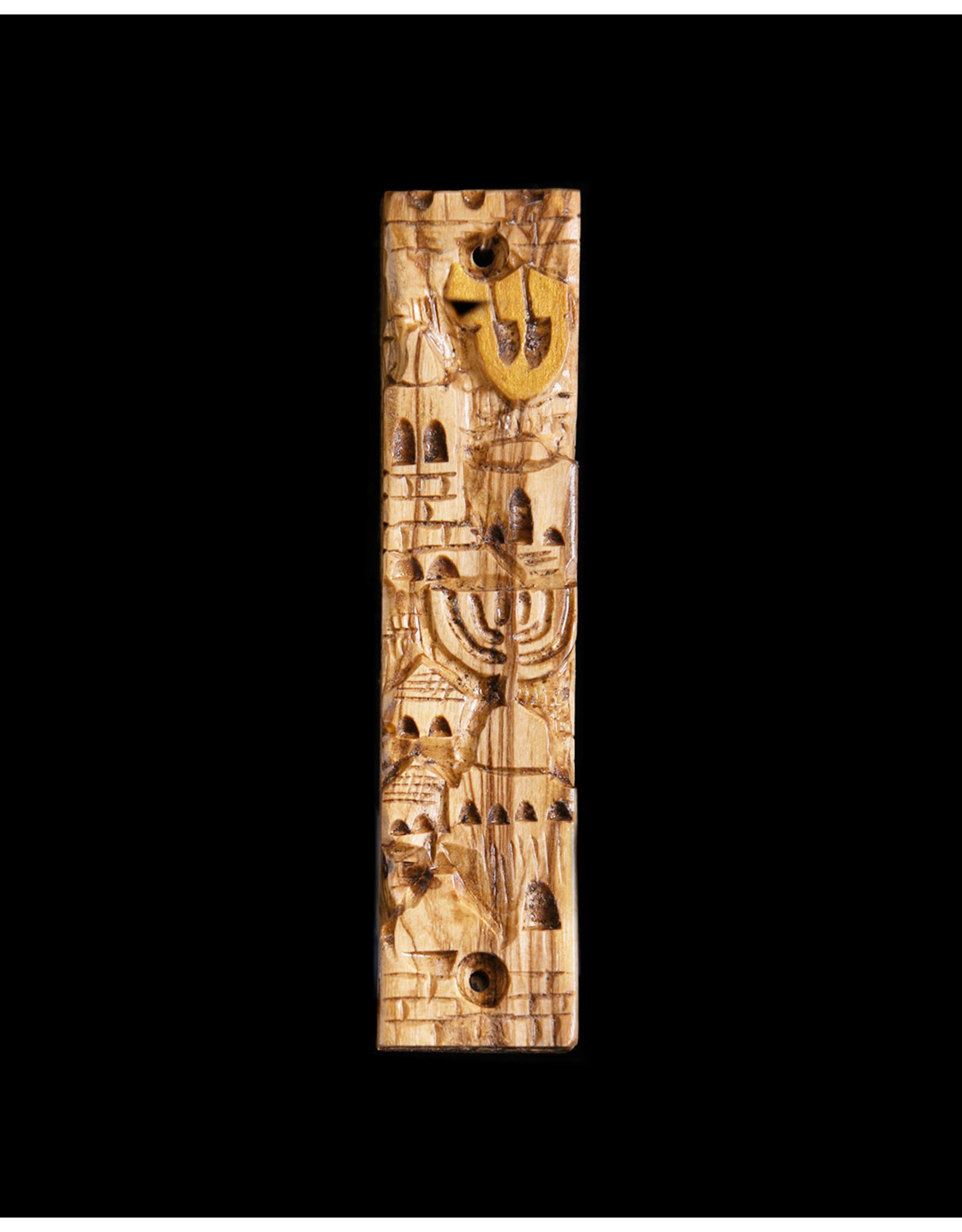 Hand Carved Jerusalem Mezuzzah