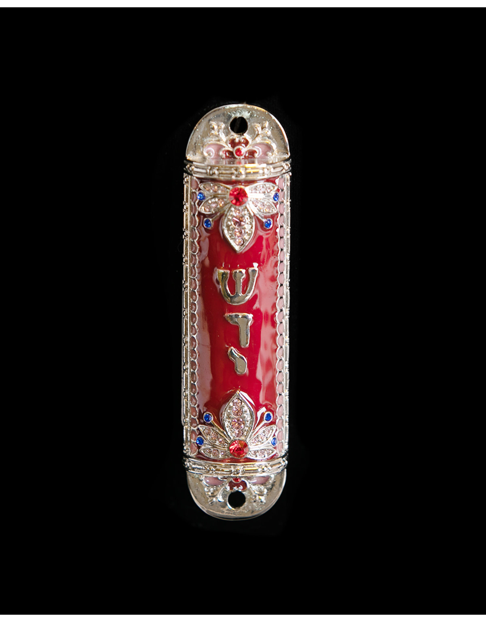 Mezuzzah Red Enamel with Crystals