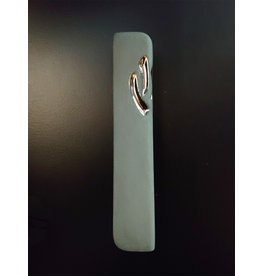 LIGHT GREEN CERAMIC MEZUZAH  WITH SILVER BY YAHALOMIS