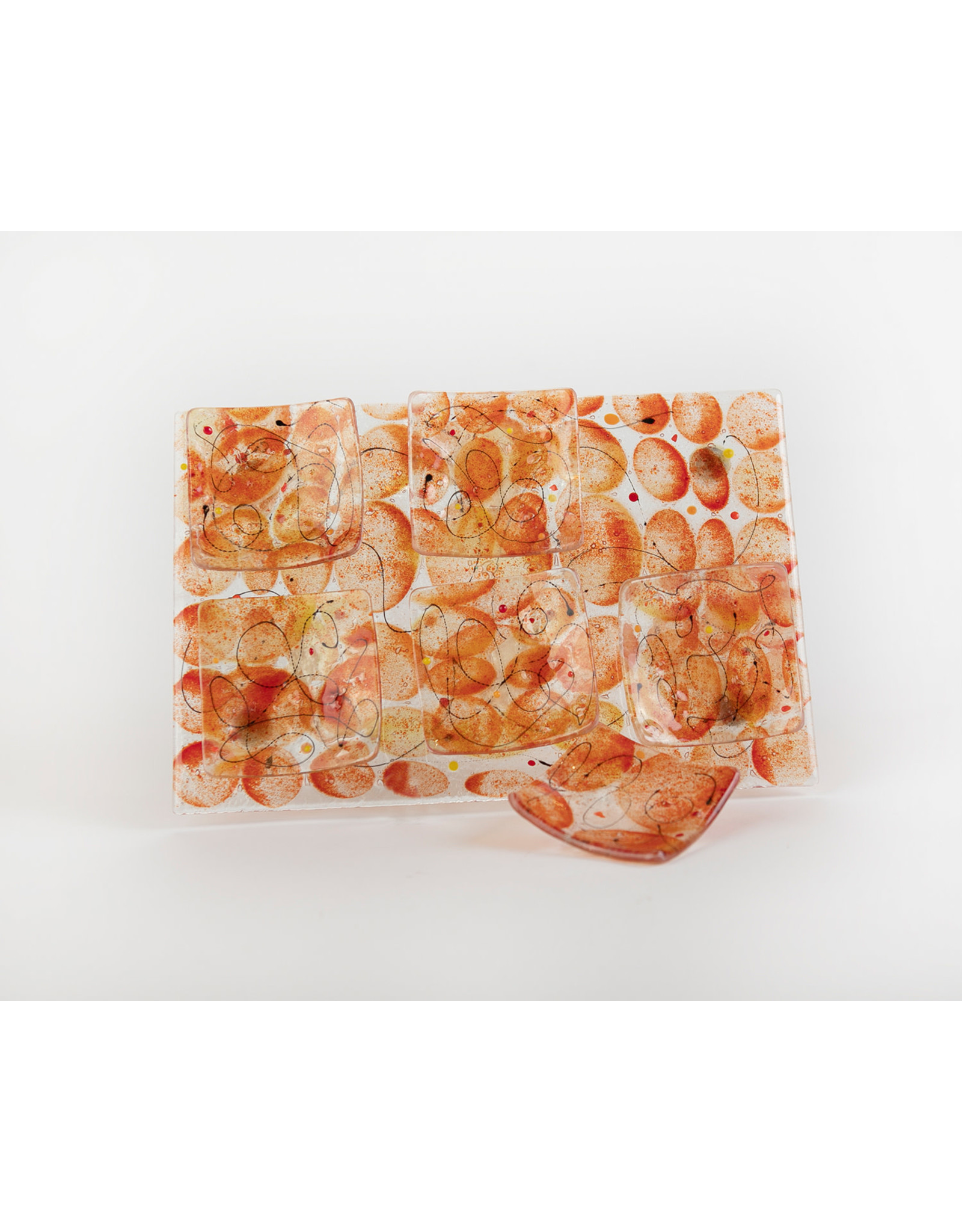 Seder Plate Orange Glass Artisannal