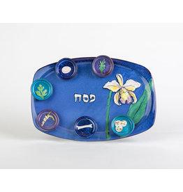 Blue floral seder plate