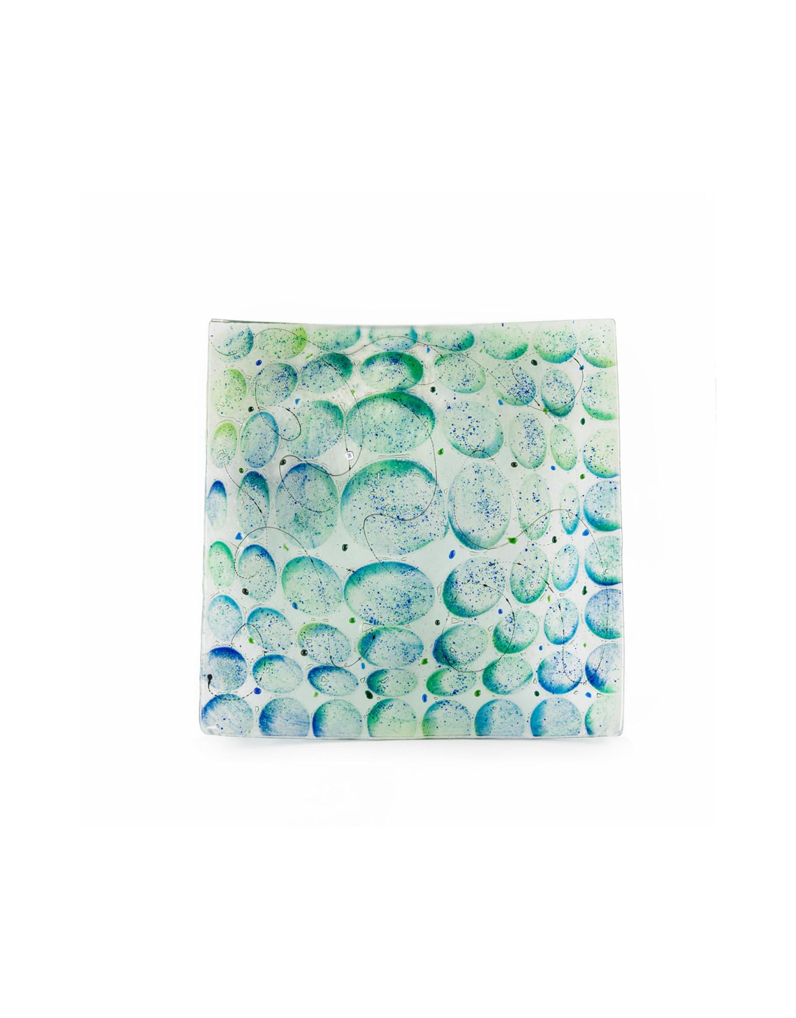 Matzah Plate  Green/Blue Artisanal