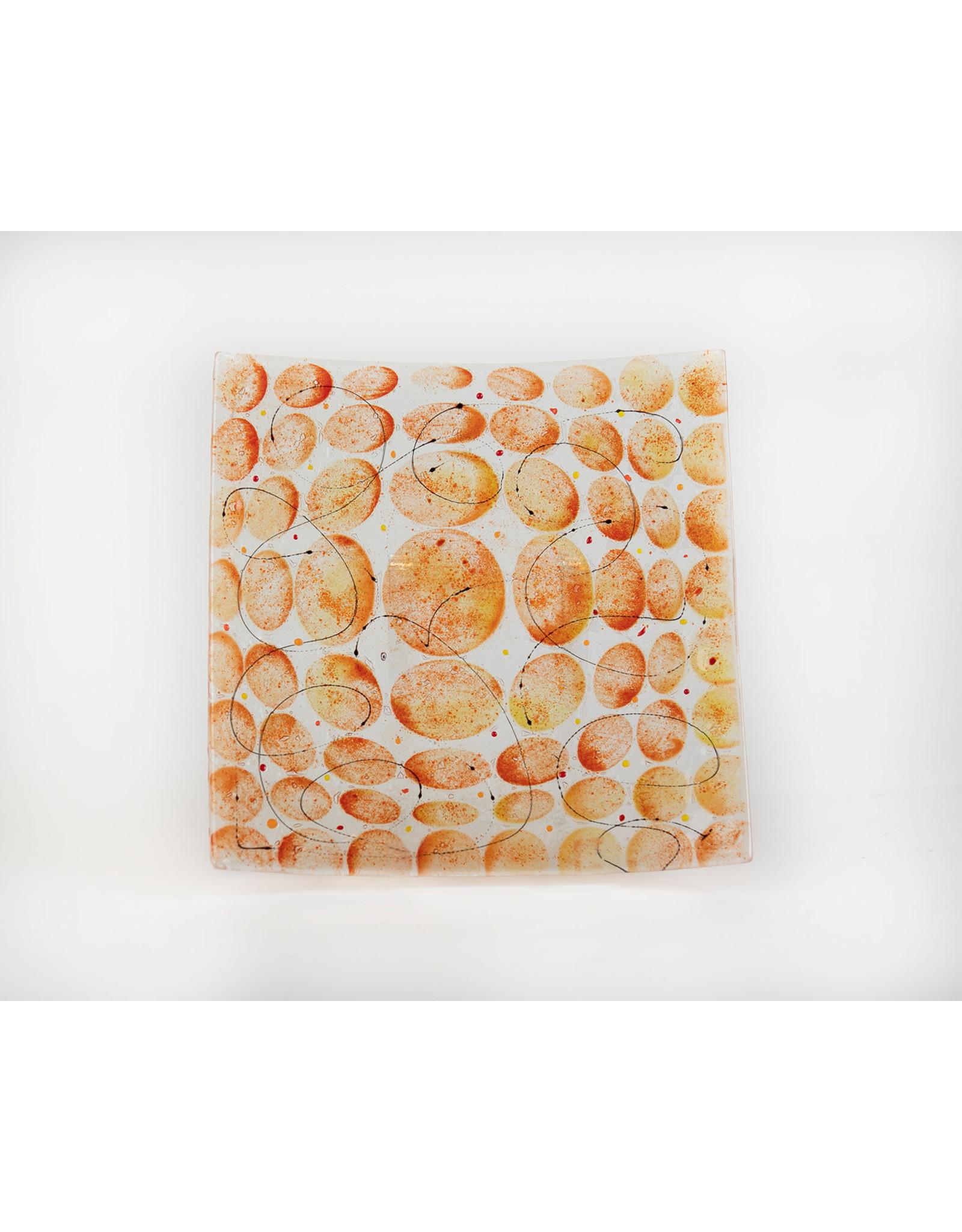 Matzah Plate  Orange Glass