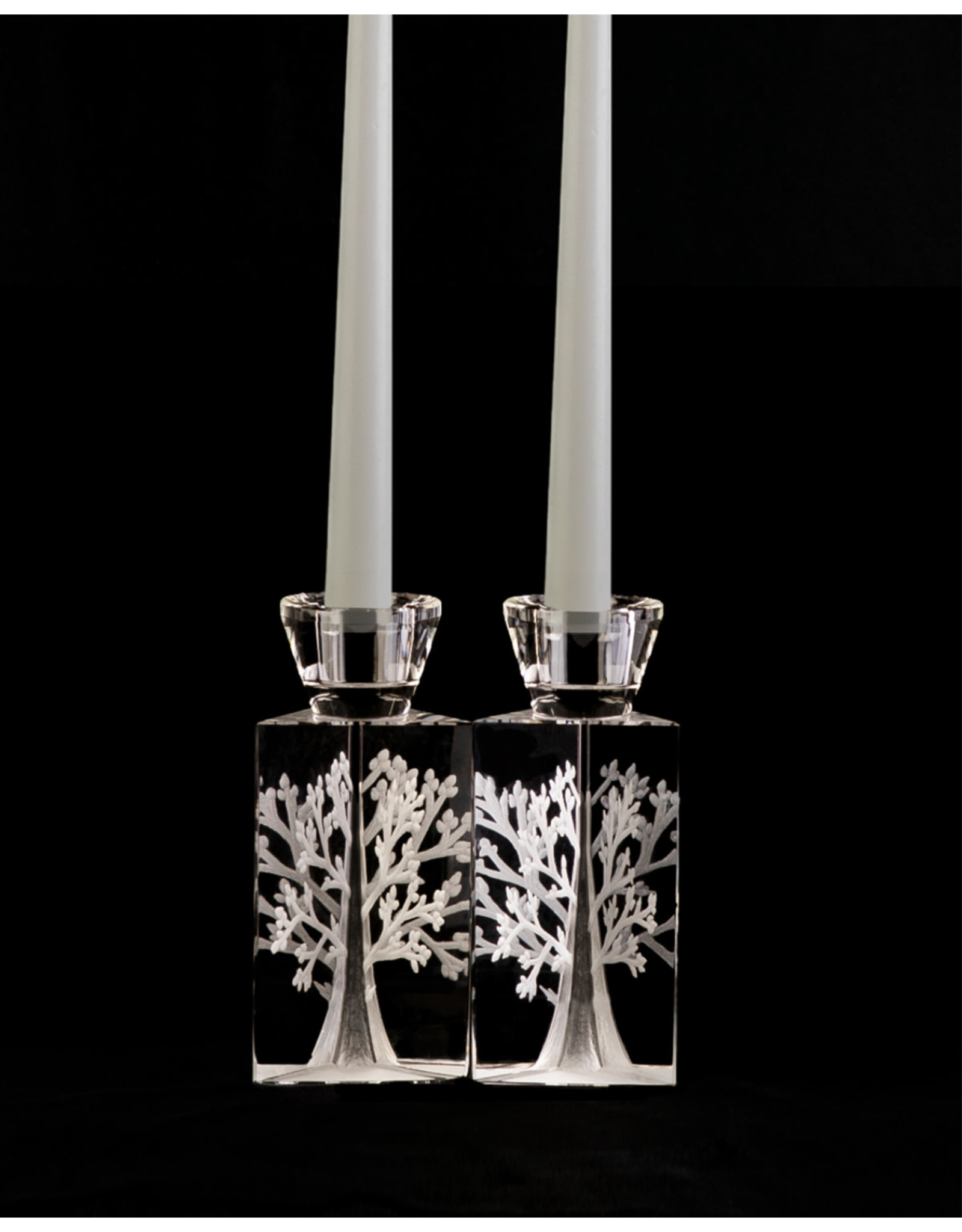 Etched Crystal Tree of Life Candle Holders