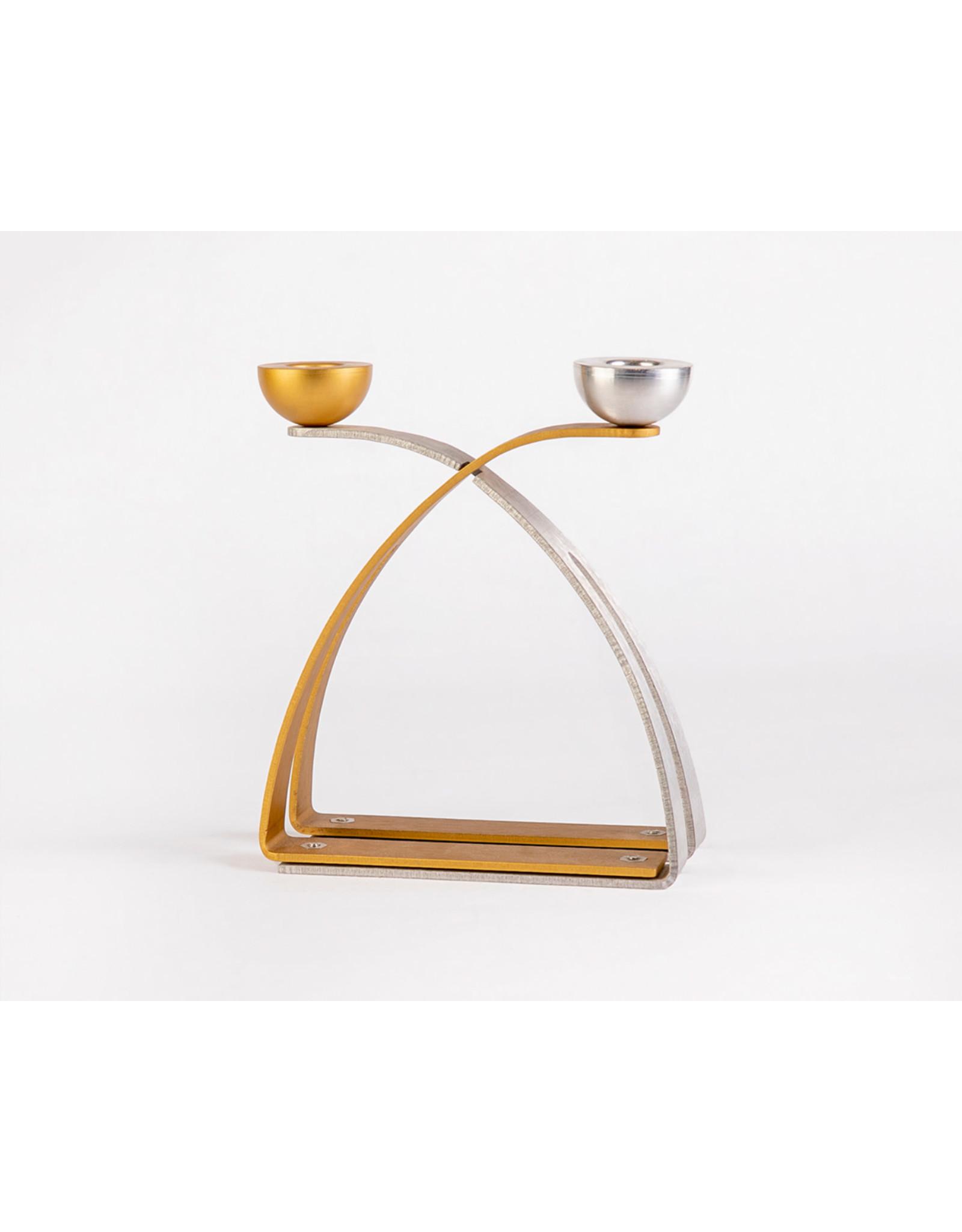 Candlesticks  modern silver/gold