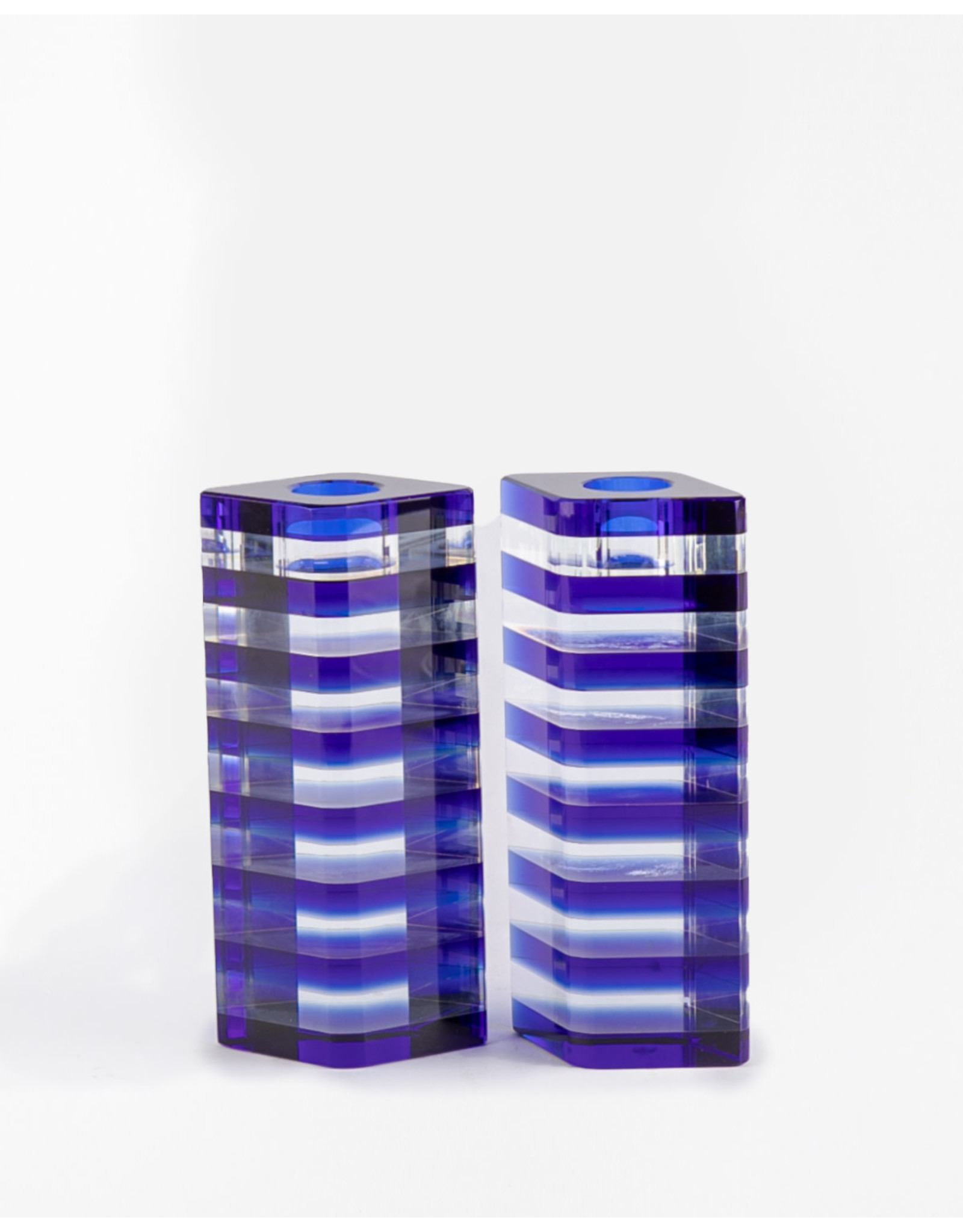 Candle Holder Blue Sq Crystal