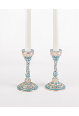 Blue and pearl enamel candle holders