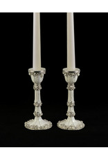 White enamel and pearl candle holders