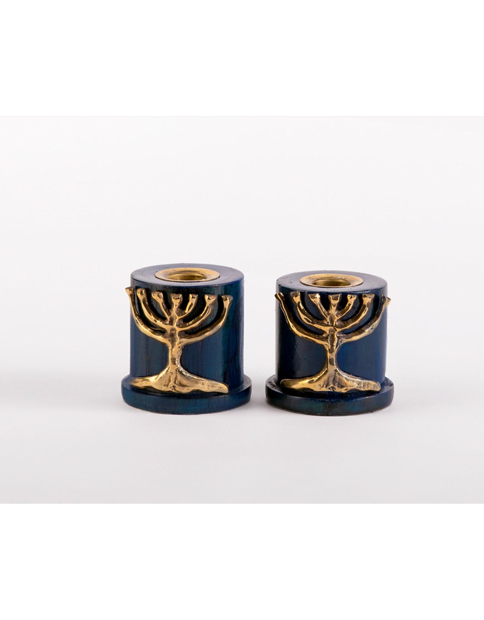 Candlesticks Blue w/Brass Tree