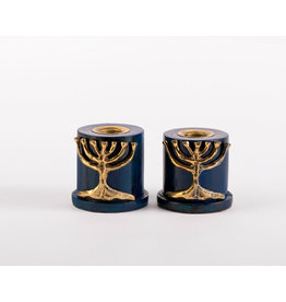Blue Candlesticks  w/Brass Tree of Life