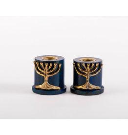 Blue Candlesticks  w/Brass Tree of Life