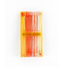 Orange Glass Shabbat Tray