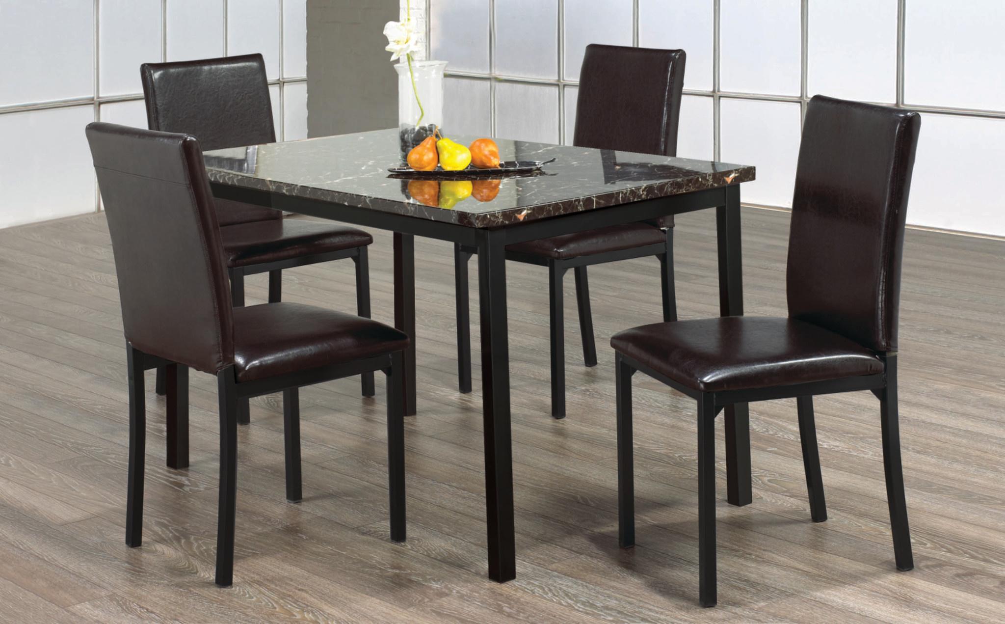 5pc Dark Brown Marble Dining Set Dani S Furniture