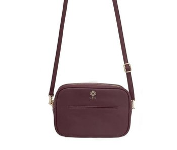 A.doree Elodie Leather Crossbody Bag -Burgandy