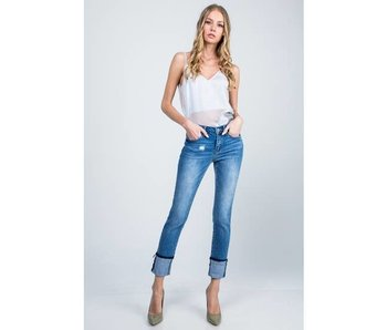 Special A Jeans Mid rise ankle skinny with cuffed hem
