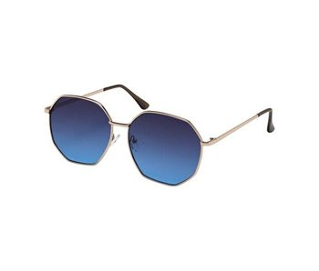 Blue Gem Sunglasses -Jade Collection -Gold/crys grey tips/smoke to blue