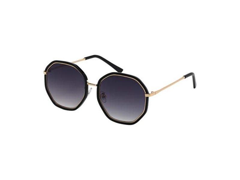 Blue Gem Sunglasses -Jade Collection -Black/gold/gradient grey