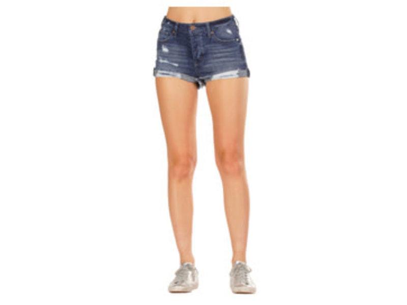 Elan dark denim distressed shorts