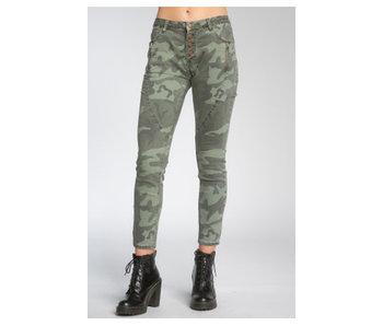 Elan Olive Camo hi rise button front jeans