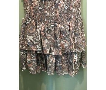 Elan Smocked Grey Paisley skirt