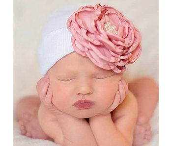 Nursery beanies -SILK ROSE WITH PEARLS