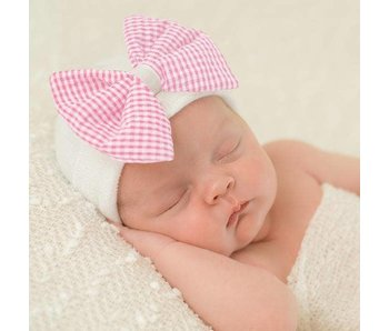 Nursery beanies -Pink & white checkered