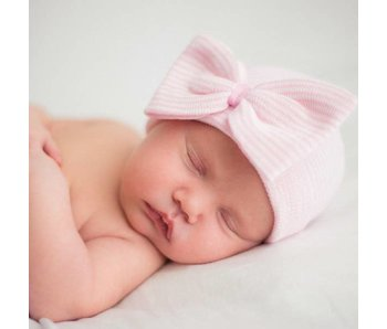 Pink and White striped newborn baby hats