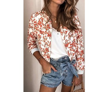 Mountain Valley Trading Floral Printed zip up bomber jacket