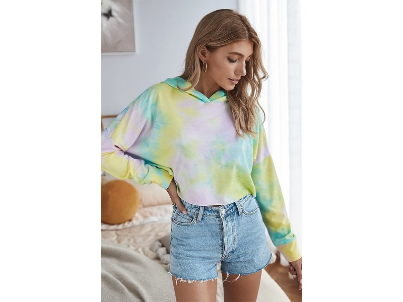 Mountain Valley Trading Tie Dye printed cropped hoodie