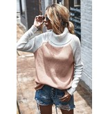 Mountain Valley Trading Turtleneck Color Block loose fit sweater