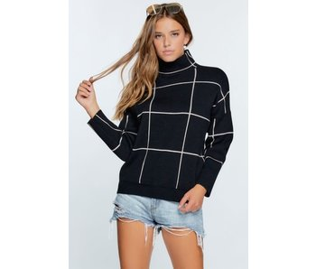 Davi & Dani GRID PATTERN ACCENT MOCK NECK PULLOVER SWEATER