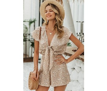 Esley The Keala Khaki Tie Front Romper