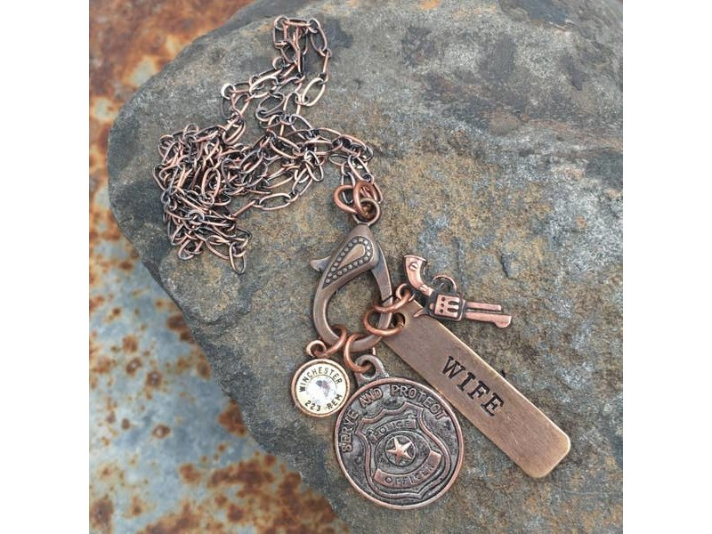 Buffalo Girls Salvage Police treasure necklace -bullet copper silver gold